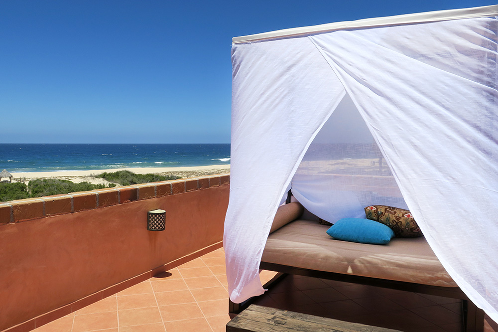 A daybed on the terrace of our Milagro Suite at Rancho Pescadero in Todos Santos, Mexico