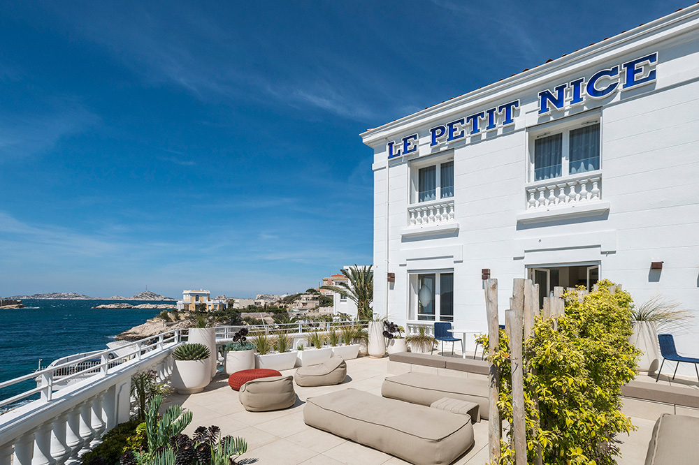 The terrace and exterior of Le Petit Nice in Marseille, France - Le Petit Nice