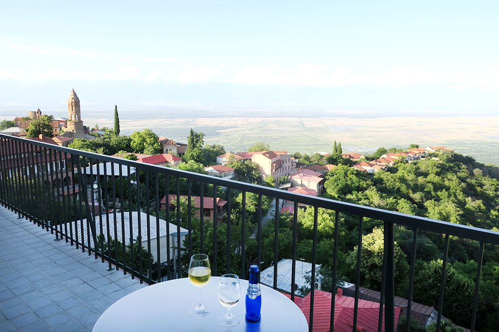 The terrace off our King Erekle Suite at Hotel Kabadoni in Sighnaghi