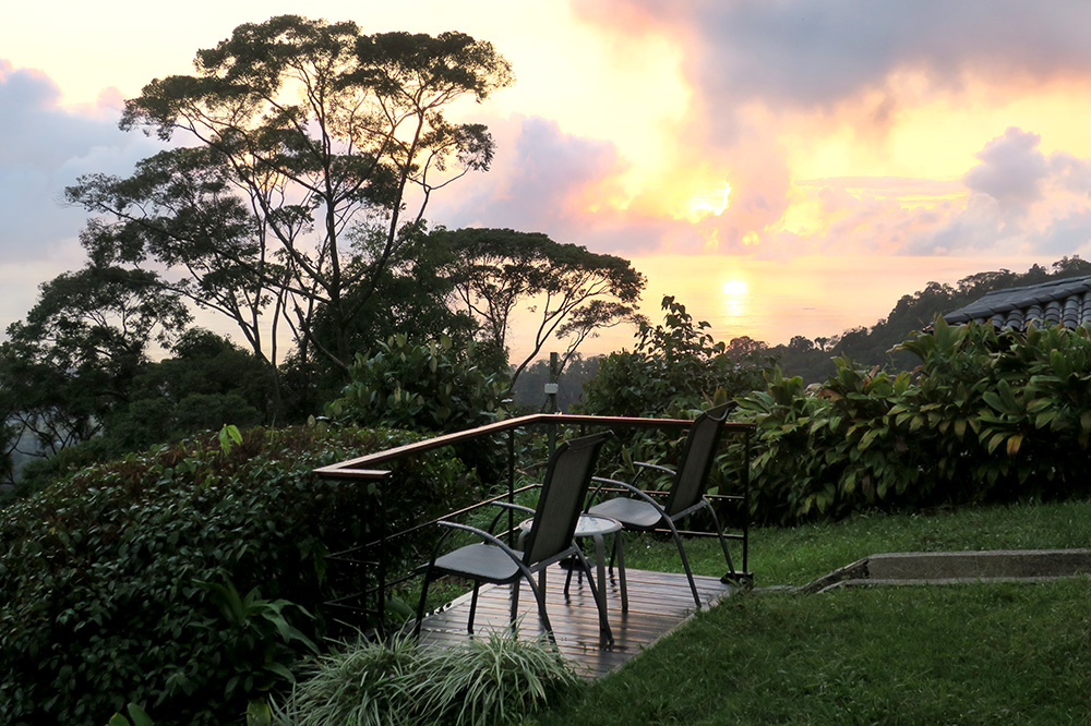 Sunset from the terrace at Rancho Pacifico