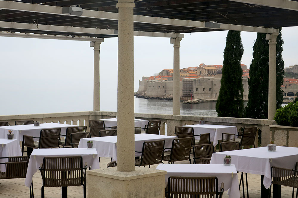 The terrace of <em>Victoria Restaurant & Lounge Bar</em> at Villa Orsula