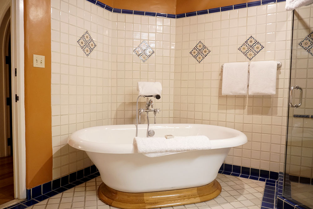 The soaking tub in our room at The Terrace at La Fonda on the Plaza