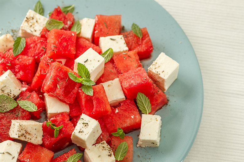 Watermelon Salad With Goat Cheese From The Mark