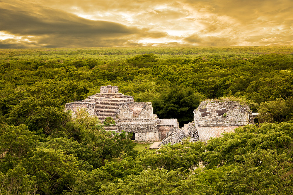 The Mayan ruins of Ek Balam rise above the surrounding jungle in the Yucatán, Mexico