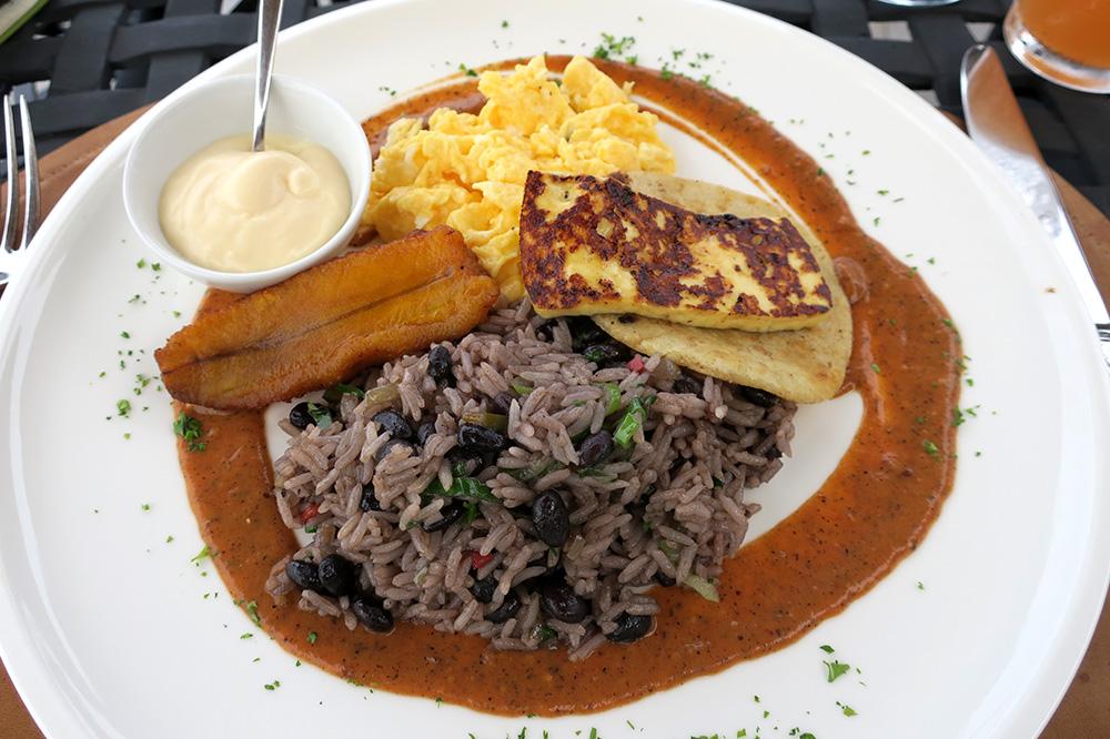 A breakfast of rice, beans, scrambled eggs, farm cheese and house-made tortillas from <em>Ambar</em> at Hacienda AltaGracia