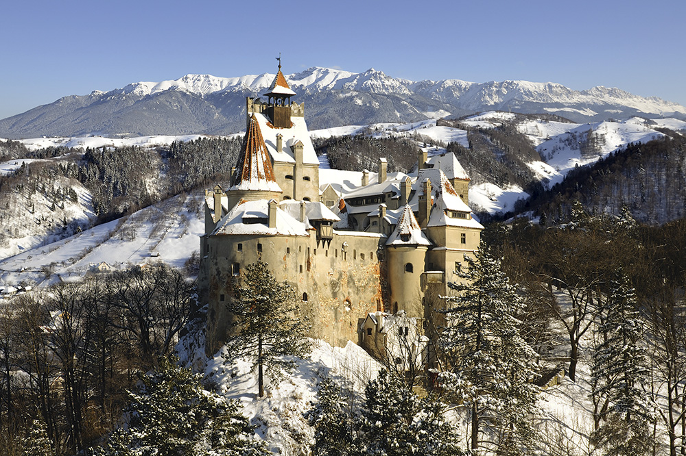 The exterior of Bran Castle, also knows as Dracula's Castle, in Transylvania, Romania