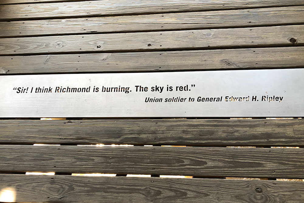 Quote embedded in the walkway at T. Tyler Potterfield Memorial Bridge in Richmond, Virginia - Betsy Andrews