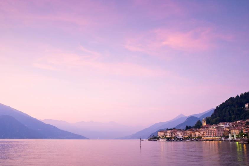 Beautiful sunset over Lake Como, Italy.