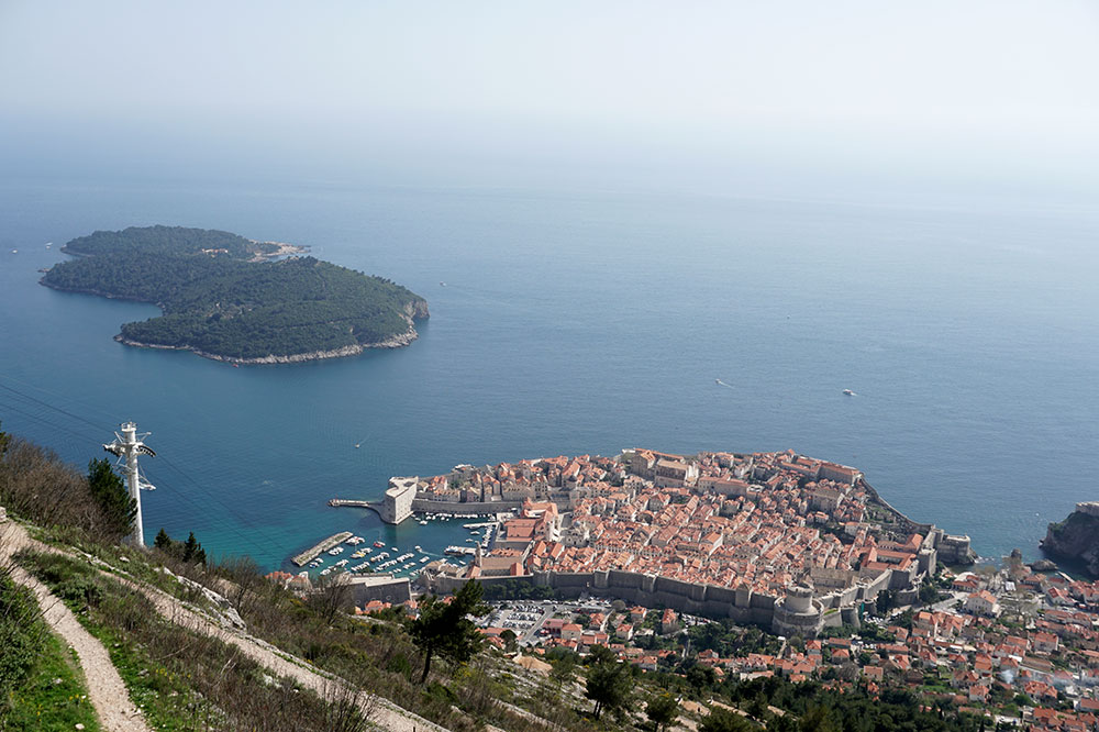 The view of Dubrovnik's old center from the top of Mount Srđ in Dubrovnik