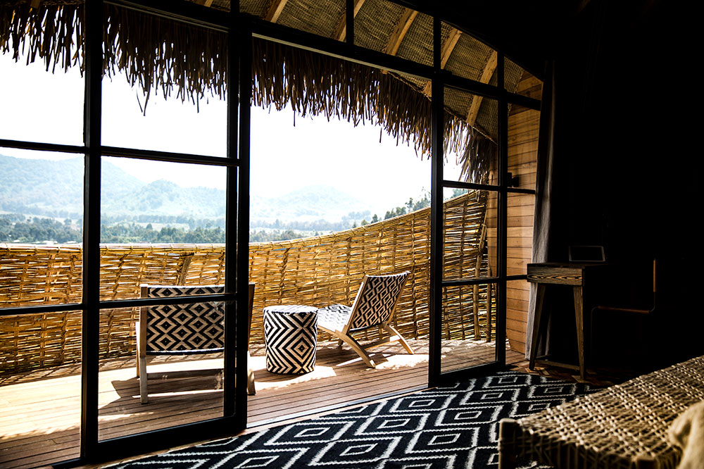 The terrace off a villa at Bisate Lodge