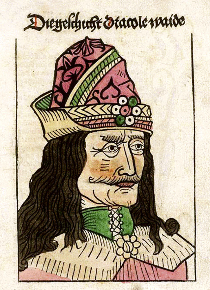 A woodcut depicting Vlad in a German pamphlet about him, published in Nuremberg in 1488 - Unibond/Wikimedia Commons