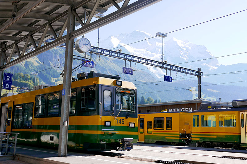 Cogwheel trains at Wengen - Photo by Hideaway Report editor