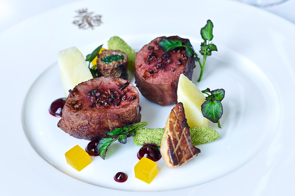 Wild venison, salsify, orange, cocoa nibs and watercress from <em>George V Dining Room</em> at Ashford Castle in Cong, Ireland