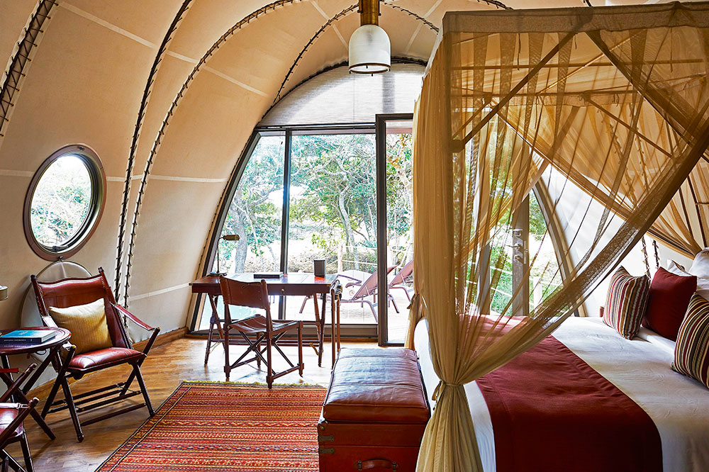 The interior of the Cocoon tent at Wild Coast Tented Lodge in Yala, Sri Lanka